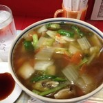 天壇 - 広東料理との看板が上がっていましたので広東麺にしました。どんぶりがデカイ!洗面器みたいです。