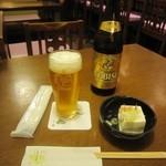 蕎麦酒房 てらさわ - 「瓶ビール」「お通し」:冷奴