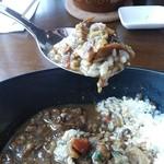 カフェフェリーチェ - 近江牛すじカレーライスセット(スープ・サラダ・パプリカのピクルス・デザート・ドリンク付)1,280円