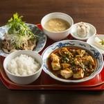蓮根荘 - 麻婆豆腐と肉料理のセット