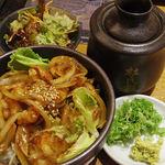 焼肉 絆 - ランチの「黒毛和牛ホルモン丼(@880円)」