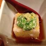 22412072 - コースの先付け  お豆腐みたいなのは長いものをすりつぶしたもので美味しい〜♫