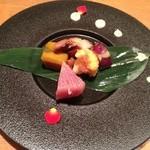 YASU - お野菜の前菜  白いソースが綺麗です。