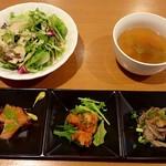 みんなのイタリアン - サラダ、スープ、前菜3種盛り
