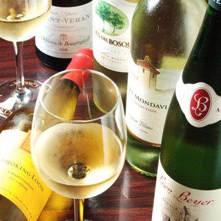 グラスワインも赤・白各5種類ございますよ