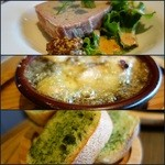 カフェゴーサンブランチ - パテドカンパーニュ、エビのアヒージョ、ガーリックトースト