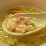 とり道楽 - 2013.11.10 ミニ塩ラーメン(鶏肉結構入っています)