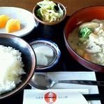 赤玉 - 料理写真:或る日の日替わり定食(豚肉と冬野菜の豆乳煮)(他ホットコーヒー付)