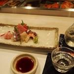 鮨西光 - お造り盛り合わせには北海道のお酒「北斗随想 純米吟醸」