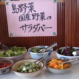 沢山の野菜が食べれるサラダバーが人気!