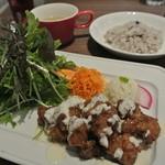 22548506 - 畑のお肉てりてりソース仕立て(ライスORパン・スープ付)¥1280
