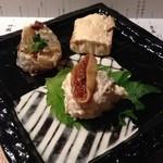 ごち - 本日は日本酒の会。前菜の三点盛から