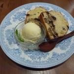 カフェドゥサシェ - クルミパウンドケーキ&栗アイス