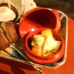 粥茶屋 写楽 - お通しの赤い容器の中