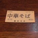 麺屋秀虎 - 食券