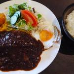アンクル・サム - 手ごねハンバーグ(スープ又はウーロン茶+ライスセット)