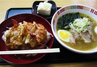 香娘めん - ロース焼丼500円&半チャーシュー塩ラーメン250円