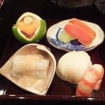 壽山 - 2013/11 穴子煮こごり 芽芋 車海老 からすみ