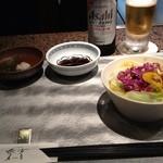 teppanyakiatago - まずはサラダとビール…はノンアルコールですよ(^_^;)