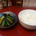 餃子の司 - ・たたききゅう 310円 ・ライス 160円