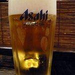 播鳥 南森町北店 - まずは何時ものように生ビールからスタートです。