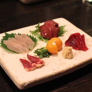 酒盃 - 比内地鶏 鶏さし (砂肝、レバー、ハツ、笹身、キンカン) (2013/11)