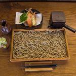 石臼十割そば 森久 - 料理写真:板そばと季節の野菜天