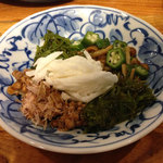 天竜食堂 - 健康一番ヌルヌル5点和え @500円。これは面白い。