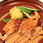 ラ・ムジカ - 茨城産 穴子のパネ (パン粉付けソテー) セップ茸のブルーテ (2013/11)