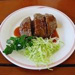 ダチョウ王国 軽食コーナー - ダチョウハンバーグ 350円 (''b