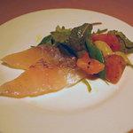 2273726 - マダイのカルパッチョ 土地の野菜を添えて(大皿から取り分けたものを撮影しました。)