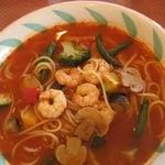 スパゲッテリア アリオ - エビと野菜のトマトスープスパゲティ¥880
