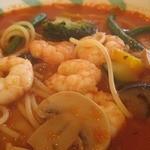スパゲッテリア アリオ - エビと野菜のトマトスープスパゲティ
