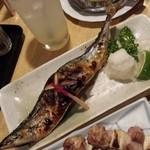 地酒と宮城のうまいもん処 斎太郎 - 宮城県三陸の丸々太って脂の乗った秋刀魚、地鶏のネギマ