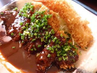 かつ時 甚目寺店 - 「ねぎ味噌ロースカツ定食 エビフライ付」1491円。