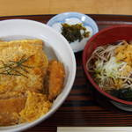 江戸家 - 半かつ丼+半蕎麦セット500円