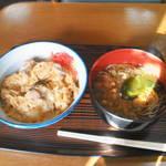 江戸家 - 半親子丼+半蕎麦セット480円