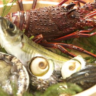 かちゃぐり屋のいけすの魚介類―。