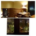 白金茶房 - 朝8時から営業されていて「パンケーキ」や「パスタ」などカフェメニューがあります。 1F,中2F,2Fの構成です。中庭に面した2Fのお席を利用しました。