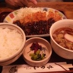 麺どころ いづみ - 味噌カツランチ(900円)(2014.1)