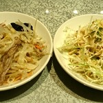 22786209 - 川府 神保町店 鶏肉・木耳入りのモヤシの和え物と胡麻ドレッシングをかけたキャベツサラダ