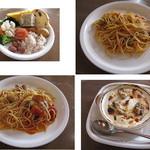 ポモドーロ - ランチA850円はサラダバー付。メイン料理は9品から1品をチョイス。スパゲティ カキのトマトソース、スパゲティ ボンゴレロッソ(あさりのトマトソース和え)、カキのドリアなど 2013.11.24撮影