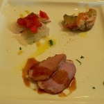 La cucina del Covo - 鯛とサバと鴨の前菜3品