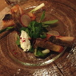 ラキュイエール - タスマニアサーモンの冷菜 ~皮目をカリカリに焼いて!!~(1,450円)2013年11月