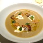 レフェルヴェソンス - セップ茸とジャガイモのスープ、秋鯖のグリエ