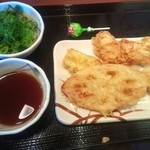 丸亀製麺 - ちくわ天¥100・かしわ天¥120・れんこん天¥100&ネギ・天ツユ