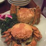 三和楼 - 上海蟹ペア(4500円):手前がメス。奥がオス。メスは卵が美味しくて全体的にあっさり。オスは蟹ミソが沢山入っていてとにかく濃厚