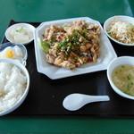 台湾食堂 - 揚げ鶏ネギソースかけ定食