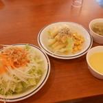 22847485 - 土曜に食べたサラダ2皿・スープ2杯