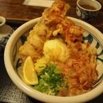 うどん うばら - 料理写真:ちく玉天ぶっかけ + とり天ぷら